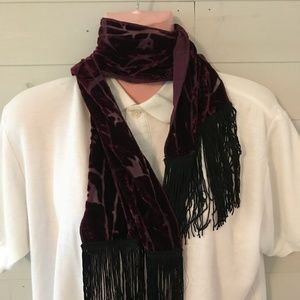 Maroon Long Scarf with Fringe